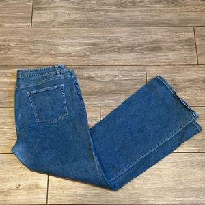 Ann Taylor Wide Leg Curvy Fit Dark Wash Jeans 16